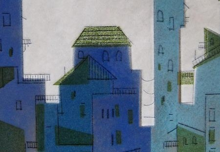Enamel Painting_Italian Hilltown_detail